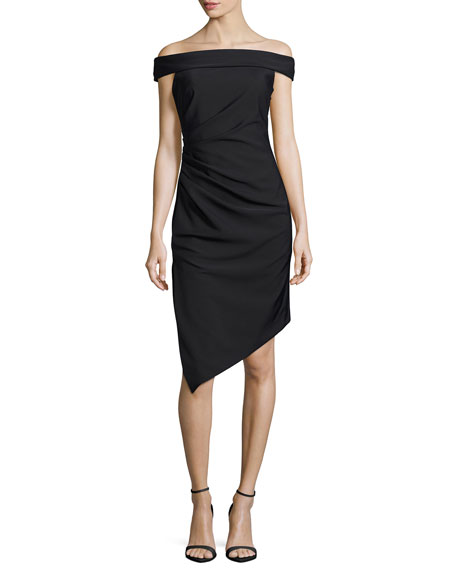 Milly Ally Off-the-Shoulder Asymmetric Cocktail Dress, Black