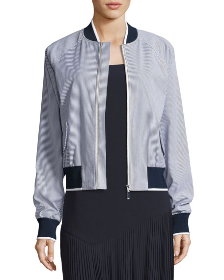 GREY by Jason Wu Striped Bomber Jacket w/