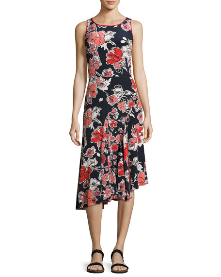 GREY Jason Wu Sleeveless Floral-Print Asymmetric Dress, Midnight