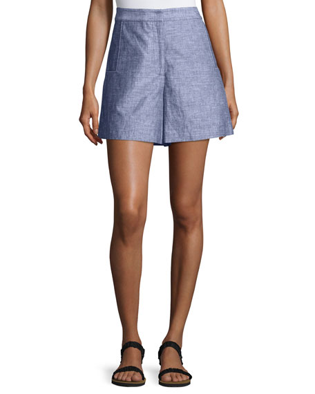 Jason Wu GREY High-Waist Double-Face Chambray Shorts, Light