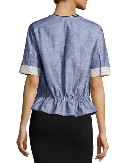 Short-Sleeve Chambray Jacket, Light Indigo