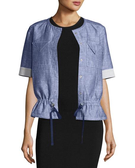 Jason Wu GREY Short-Sleeve Chambray Jacket, Light Indigo