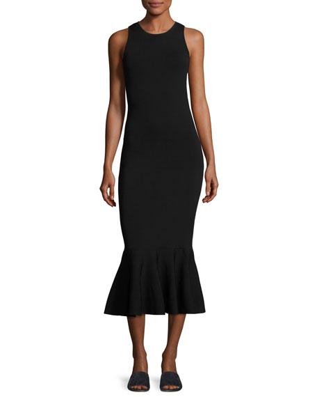 Sleeveless Flippy Midi Flounce Dress, Blackstar/White
