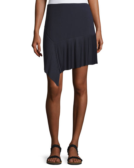 GREY Jason Wu Miniskirt w/ Asymmetric Pleated Hem,