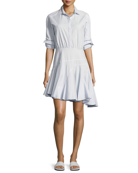 GREY Jason Wu Long-Sleeve Asymmetric Striped Cotton Shirtdress,