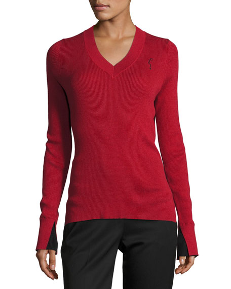 GREY Jason Wu Lightweight V-Neck Sweater, Red/Black