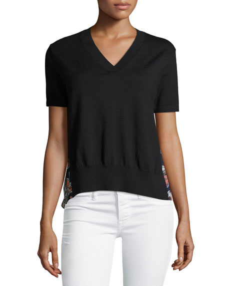 V-Neck Short-Sleeve Sweater w/ Pleated Chiffon Back
