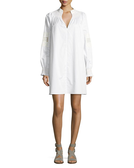 Cora Embroidered Short Cotton Dress, White