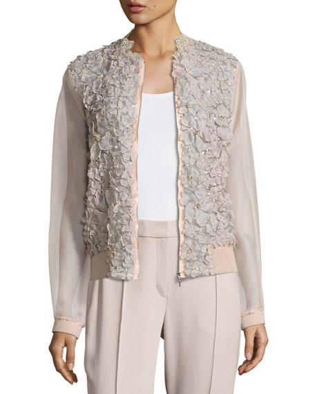 Elie Tahari Suri Floral Silk Organza Bomber Jacket,