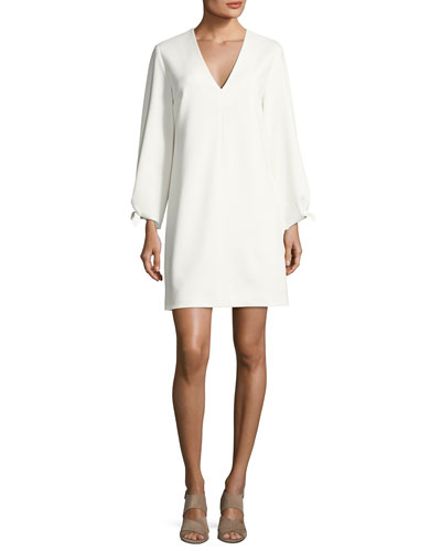 Structured Crepe V-Neck Dress, Ivory