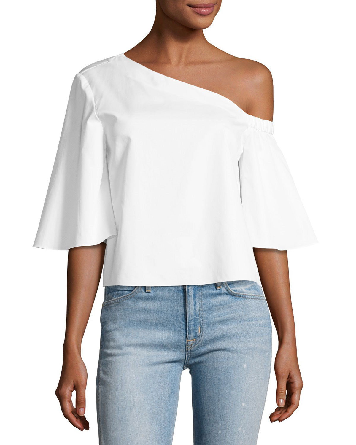 c4b305285a1 Tibi Satin Poplin One-Shoulder Top, White | Neiman Marcus