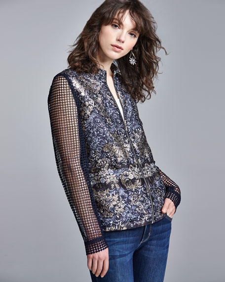 Orchid Floral-Print Lace-Sleeve Jacket, Blue