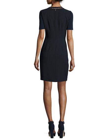 Marion Short-Sleeve Paneled Sheath Dress