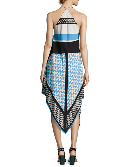 Mariah Sleeveless Racerback Dress, Blue Pattern