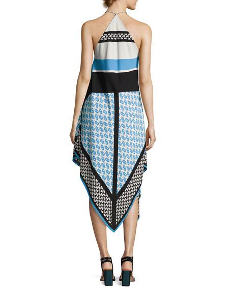 Mariah Sleeveless Racerback Dress, Blue Pattern
