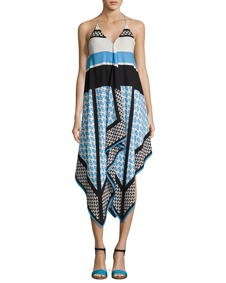 Cynthia Steffe Mariah Sleeveless Racerback Dress, Blue Pattern