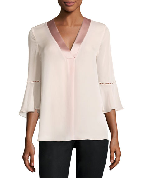 Elie Tahari Rose 3/4-Sleeve Charmeuse-Trim Silk Chiffon Blouse