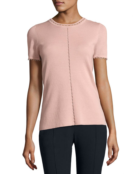 Elie Tahari Lily Short-Sleeve Embellished Merino Sweater