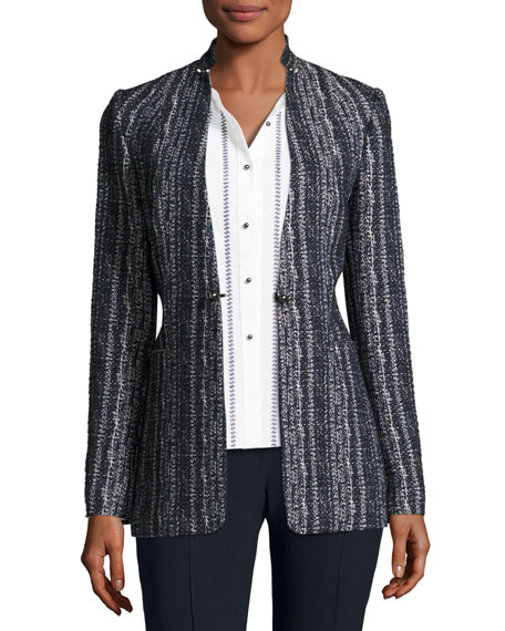 Elie Tahari Bonnie Tweed Blazer Jacket, Navy