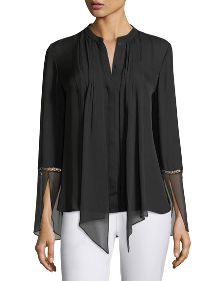 Elie Tahari Nicola Long-Sleeve Pleated Button-Front Chiffon