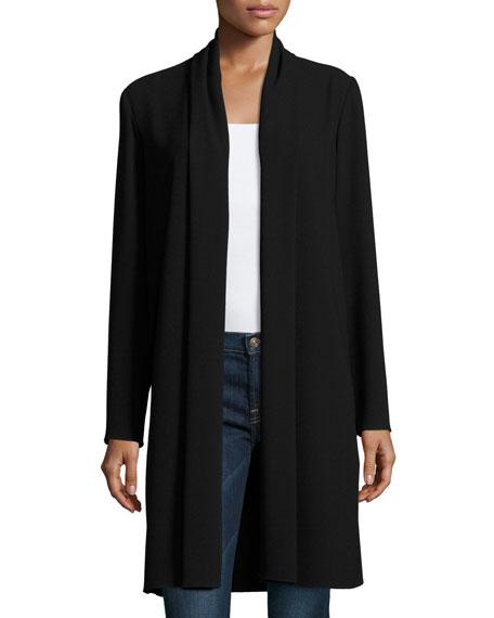 Elie Tahari Coley Long Silk Topper Coat, Black