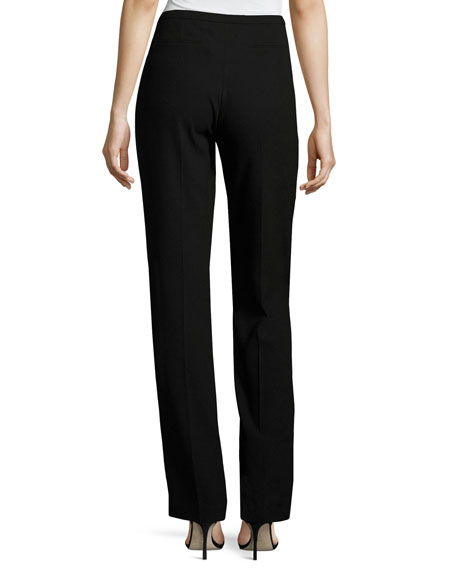Stella Straight-Leg Stretch-Knit Pants, Black
