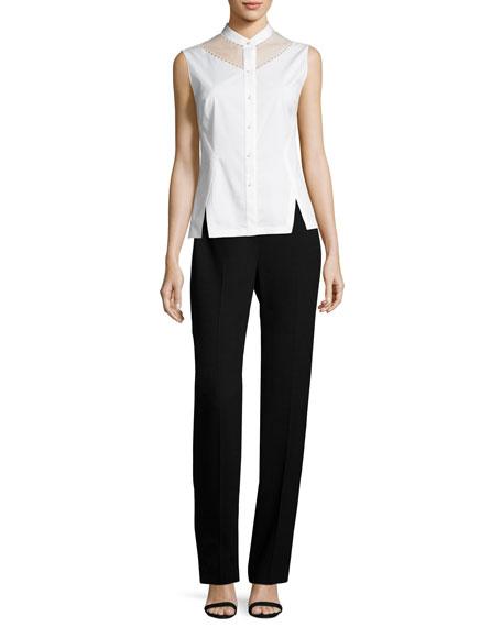 Stella Straight-Leg Stretch-Knit Pants, Black
