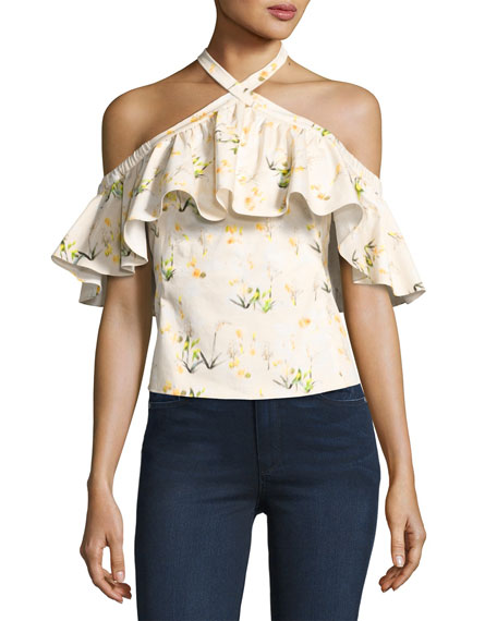 Rebecca Taylor Firefly Floral Cold-Shoulder Top, Yellow/White