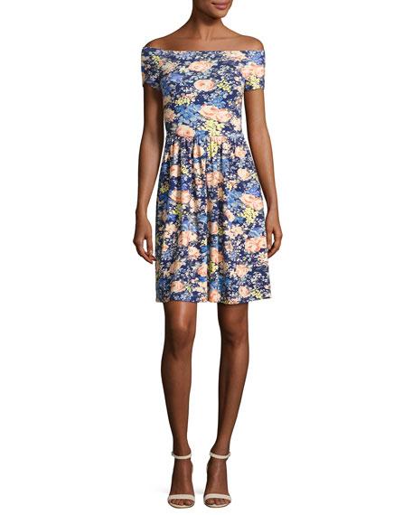 Rebecca Taylor Gigi Off-The-Shoulder Jersey Dress, Multicolor