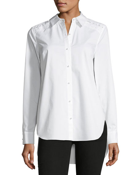Elie Tahari Alina Long-Sleeve Button-Front Blouse w/ Pearlescent