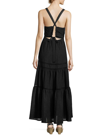 Sleeveless Textured Maxi Dress, Black
