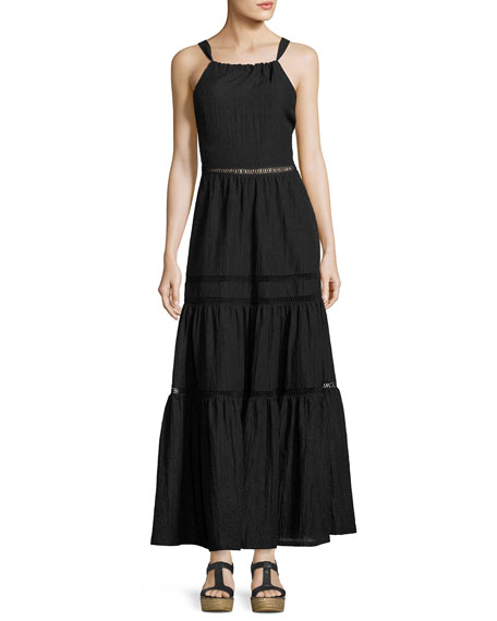 Rebecca Taylor Sleeveless Textured Maxi Dress, Black