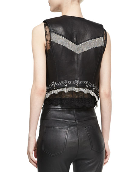 Chain-Trim Leather Western Vest, Black