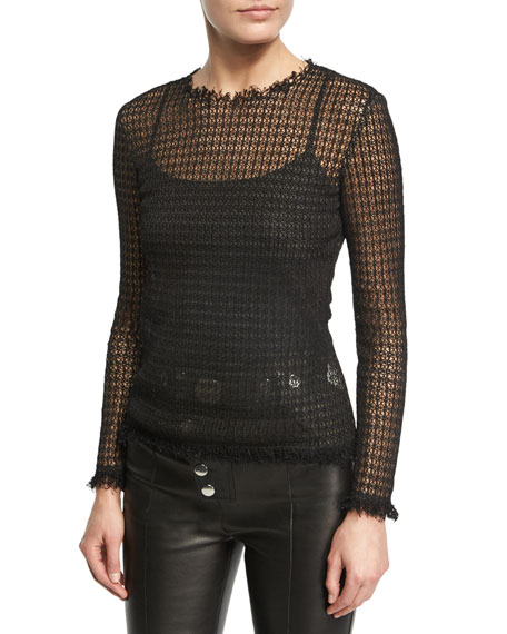 Alexander Wang Raw-Edge Long-Sleeve Mesh Tee, Black