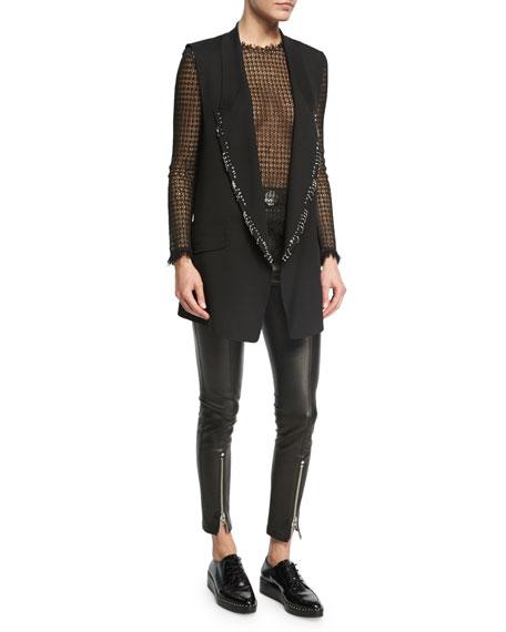 High-Waist Leather Leggings, Black