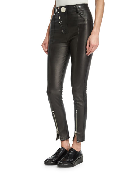 Alexander Wang High-Waist Leather Leggings, Black