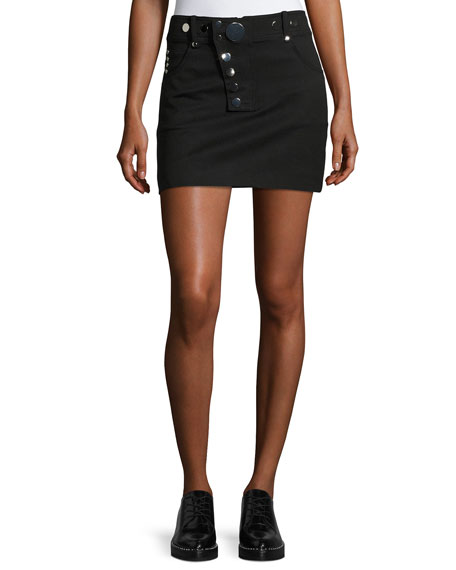 High-Waist Stud-Detail Miniskirt, Black
