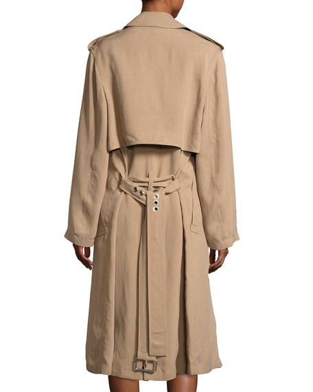 Slouchy Pierced Trench Coat, Beige