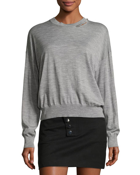 Pierced Merino Wool Crewneck Pullover, Light Gray