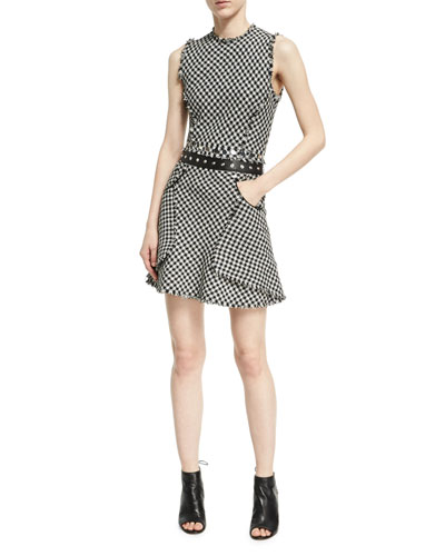 Fringed Check A-Line Dress, Black/White