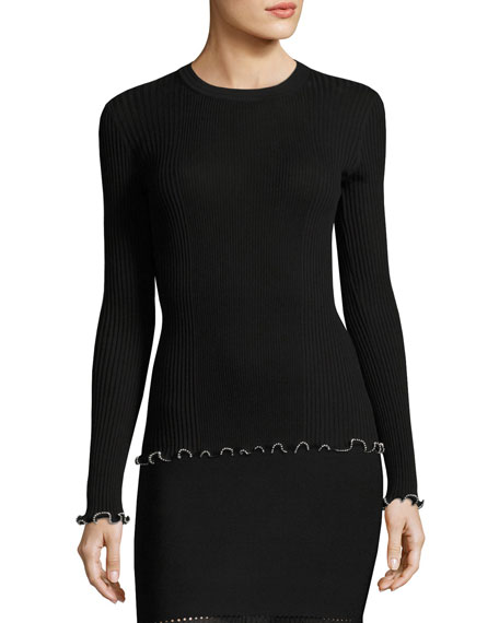 Milano Rib Long-Sleeve Top with Ball Chain Trim, Black