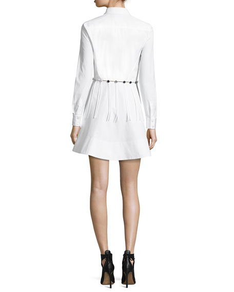 Button-Trim Long-Sleeve Cotton Shirtdress, White