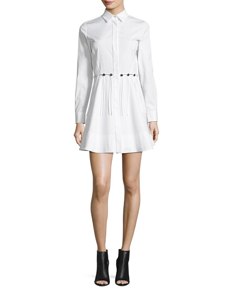 Alexander Wang Button-Trim Long-Sleeve Cotton Shirtdress, White