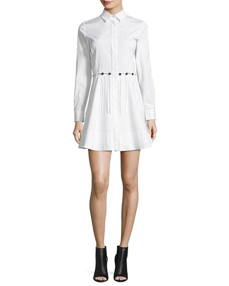 Alexander Wang Button-Trim Long-Sleeve Cotton Shirtdress, White