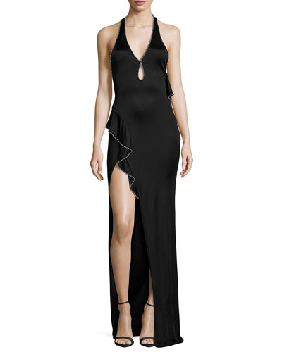Sleeveless Halter Flounce Gown with Ball Chain Trim, Black