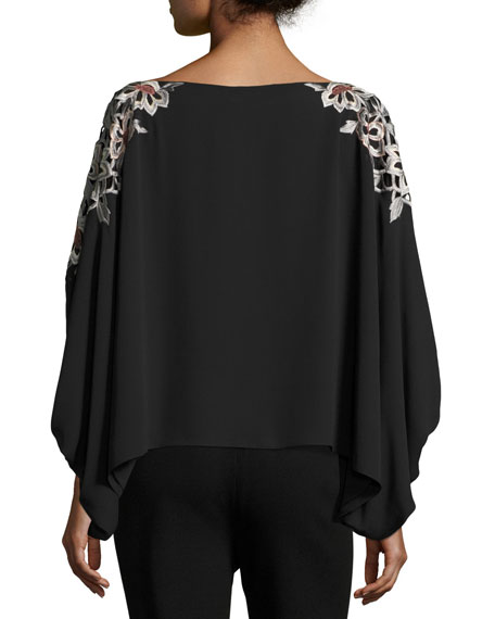 Embroidered 3/4-Sleeve Silky Blouse