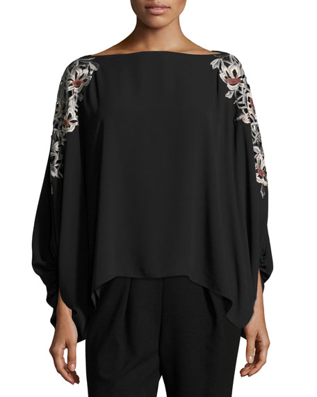 Josie Natori Embroidered 3/4-Sleeve Silky Blouse and Matching