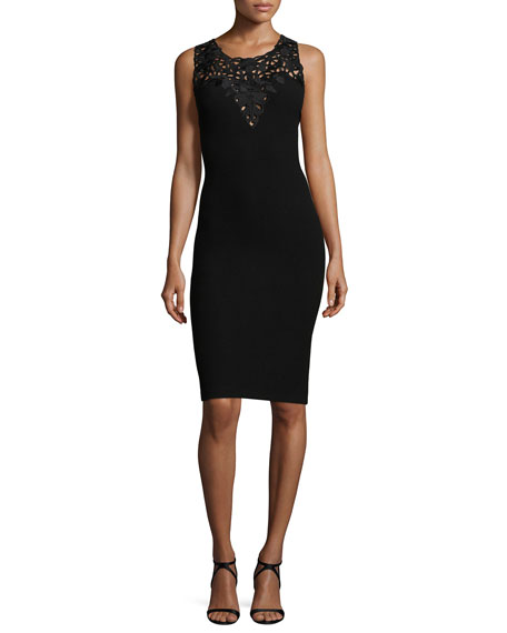 Sleeveless Lace-Yoke Crepe Sheath Dress