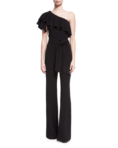 Ruffled One-Shoulder Crepe Jumpsuit