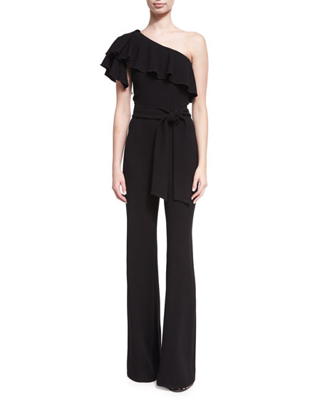 Josie Natori Ruffled One-Shoulder Crepe Jumpsuit